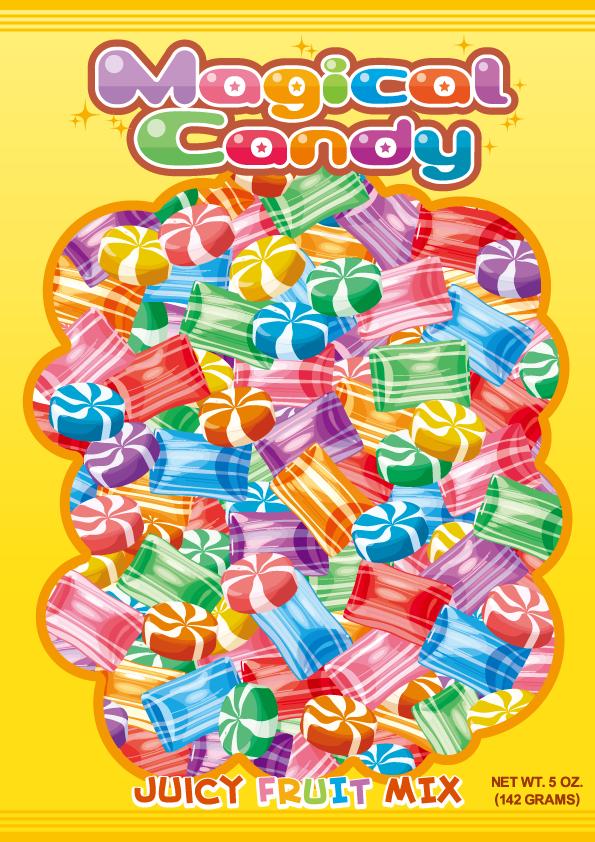 キャンディのパッケージ風イラスト