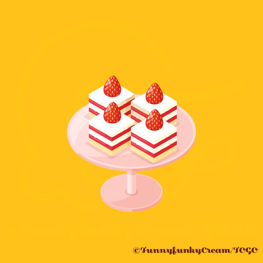 アイソメトリックアートのショートケーキ