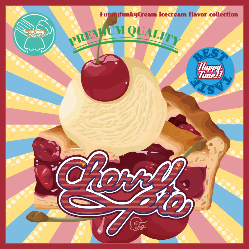 チェリーパイアイスのレトロポスター風イラスト