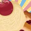 イラスト-チェリーパイアイスクリームのレトロポスター風イラスト-